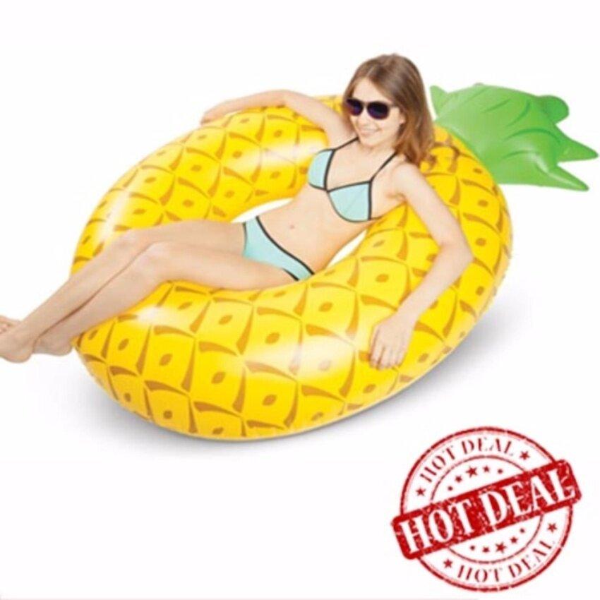 ห่วงยาง Big Size ห่วงยางแฟนซี แพยางเป่าลม ที่นอนเป่าลม สับปะรด Pineapple 150 cm.(สีเหลือง)