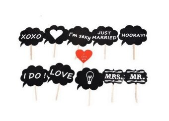 Bigood 11 Pcs Creative Red Heart Blackboard Photo Props WeddingsParty DIY Kits - intl