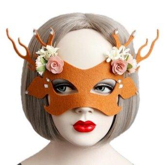 Bigood Women Orange Deer Flower Semi Mask Masquerade HalloweenParty Fancy Dress - intl