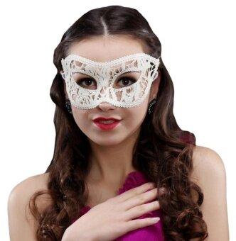 Bigood Women White Lace Venetian Masquerade Masks Eyemask HalloweenParty Hollow - intl