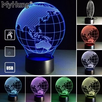Birthday Gifts Oceania Map 3D lights Lamb Fancifule HolidayGiftsRomatic 3D Lights Touch Switch Lamp Acrylic Visual Room DecorUsbChanger - intl