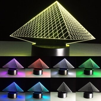 Birthday Gifts Pyramid 3D LED Bedroom Table Lamp Touch ButtonsLedAcrylic Stereoscopic Night Light Touch Switch Romantic LampUSBChanger - intl