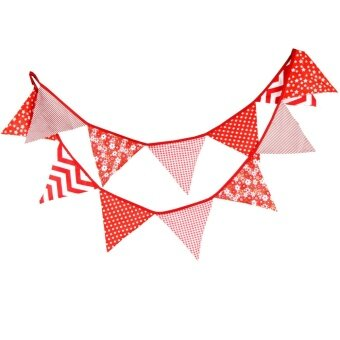 Birthday Party Holiday Decoration Triangle String Flag Red - intl