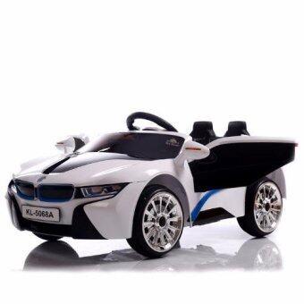 BMW i8 12V 2 Motors รถแบตเตอรี่ รถเด็กนั่งไฟฟ้า รถเด็กเล่นบังคับวิทยุ - สีขาว