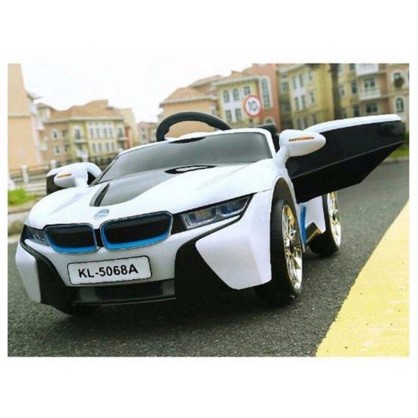 รถแบตเตอรี่ รถเด็กนั่ง บังคับวิทยุด้วยรีโมทและขับธรรมดา BMW I8 สีขาว