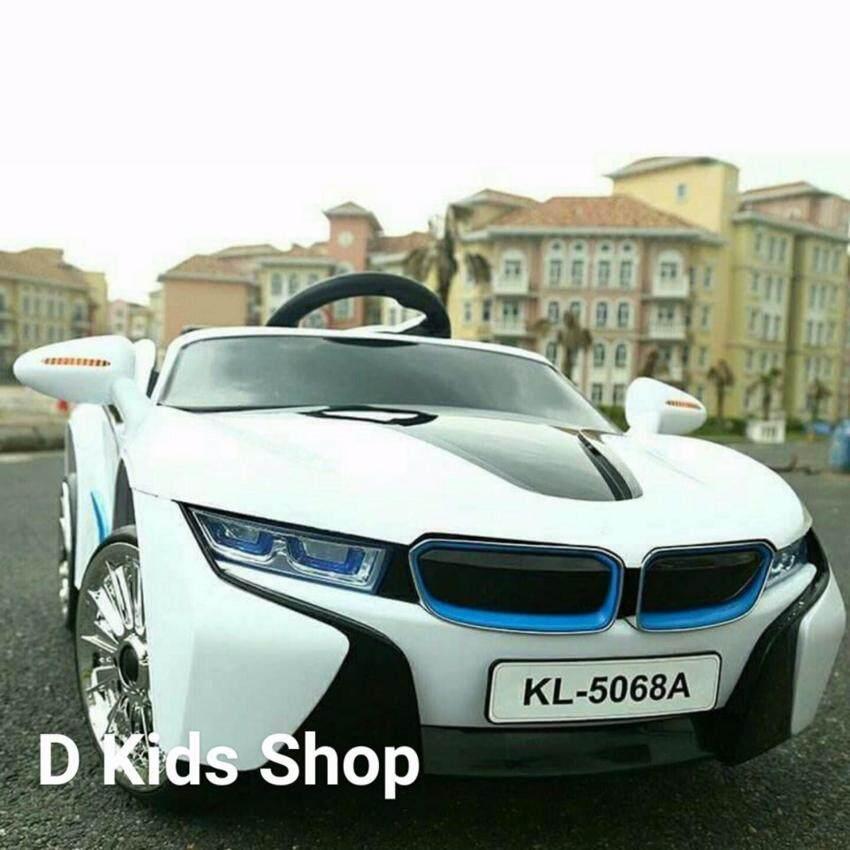 รถแบตเตอรี่ รถเด็กนั่ง บังคับวิทยุด้วยรีโมทและขับธรรมดา BMW I8 สีขาว image