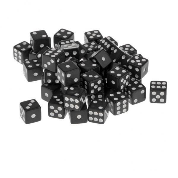 BolehDeals 12mm 50pcs Acrylic Six Sided Spot Dice Party Games Dice Black Color - intl