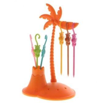 BolehDeals 7pcs /Set Plastic Fruit Forks Monkey Coconut Tree HolderTableware Orange - intl