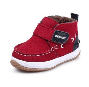 Boys boots Leathe Sneakers for Winter Autumn First Walkers Shoes\nToddler Baby Snow Boots (Red) - intl