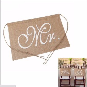 Burlap Chair Banner Sign Garland for Wedding Party Decor - intl