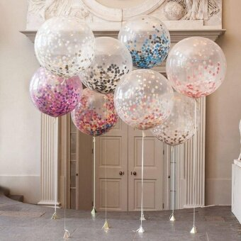 CHEER Multicolor Confetti Paper Transparent Balloon For Birthday Party Wedding - intl
