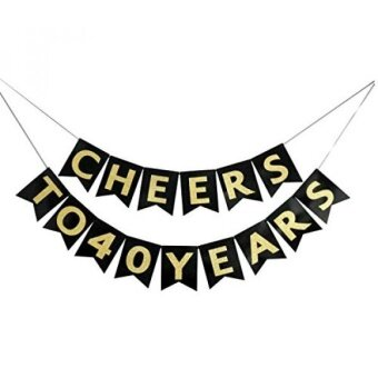 Cheers to 40 Years Banner - Happy 40th Birthday Party Decorations - 40th Wedding Anniversary Decorations - NO ASSEMBLY REQUIRED - intl