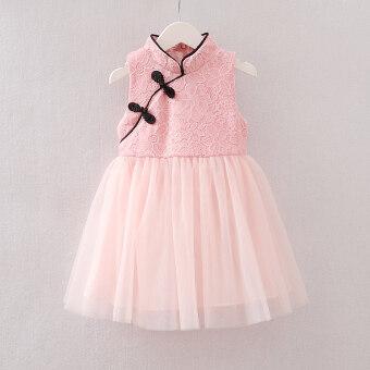 Cheongsam สาวเสื้อกั๊กกระโปรงเกาหลีใหม่สำหรับเด็ก