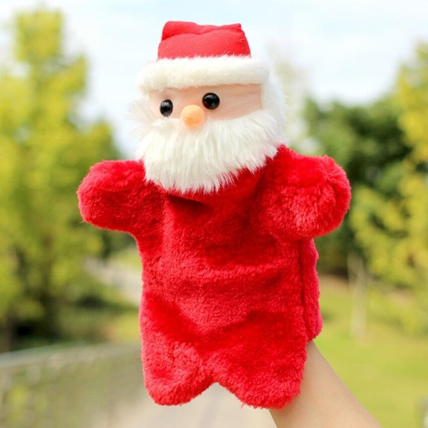 Christmas Creative Plush Toys Santa Claus Doll Gloves Hand Puppet Toy As Perfect Festival Gift Color:Red Height:27cm - intl