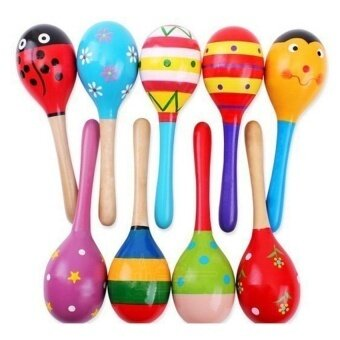 Colorful Wooden Maraca Wood Rattles Kids Musical Party Favor - intl