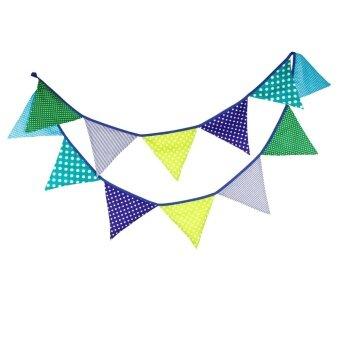 Creative Festival Party Cotton Decorative Triangle Flag Green -intl
