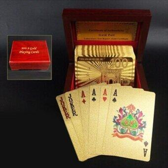 Harga Creative Frosted Golden 100 Euro Back Texture Plastic From Vegas ToMacau Playing Cards Texas Poker With Wooden Gift Box - intl