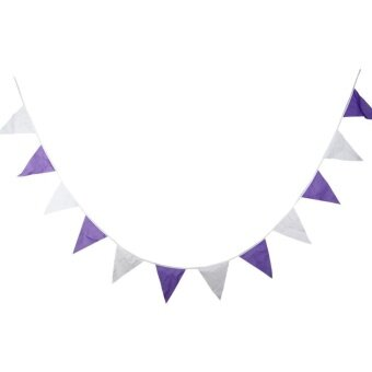Creative Purple Cotton Pennant Flag Garland Home Wedding Party Decor - intl
