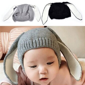Cute Baby Rabbit Ears Knitted Hat Toddler Kids Wool Cap ForChildren 0-3Y Winter Black - intl