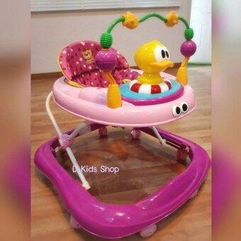 D Kids Toys รถหัดเดิน รถเด็กหัดเดิน เจ้าเป็ดสีชมพู มีเสียงดนตรี มีไฟ ปรับระดับได้