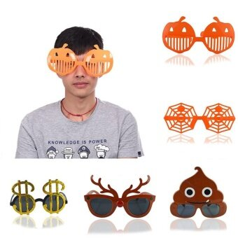 Decoration Halloween Trick Glasses Googles Pumpkin Spiderweb Deer Shape Festival For Funny - intl