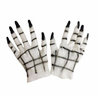 Diotem White Ghost Gloves Halloween Costumes Masquerade PartySupplies - White - intl