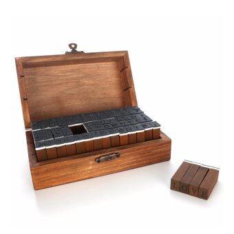 SAVFY ชุดตรายาง ด้ามไม้ DIY70 ชิ้น ตัวอักษร A-Z ตัวเลข พร้อมกล่องไม้