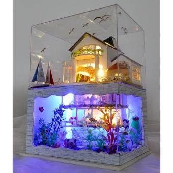 DIY Hawaii Villa Aquarium ตัวต่อตั้งโชว์ไม้ บ้านตุ๊กตาไม้ประกอบเอง ชุดบ้านฮาวายใต้ทะเล พร้อมไฟและที่ครอบ ขนาด สูง26xกว้าง21xลึก16.5cm.
