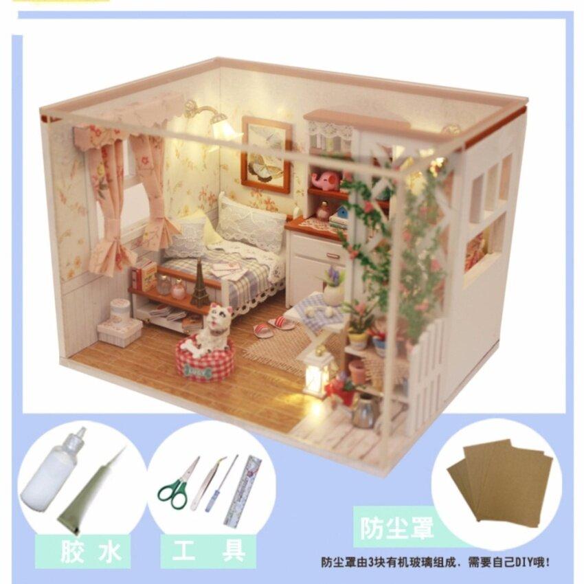 DIY Reminder บ้านตุ๊กตาประกอบเองชุดห้องนอนสีขาวแบบมีสุนัข  พร้อมอุปกรณ์ไฟที่ครอบกันฝุ่น รุ่น M024