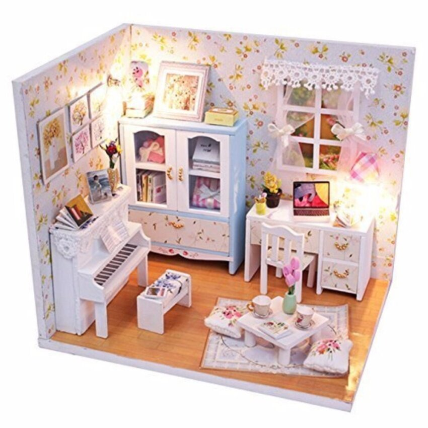 DIY Summer Day Bedroom  บ้านตุ๊กตาประกอบเองชุดห้องนั่งเล่นพร้อมเปียโน พร้อมอุปกรณ์ไฟที่ครอบกันฝุ่น รุ่น M011