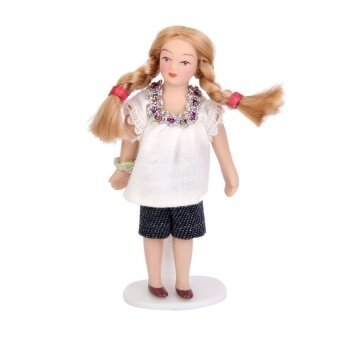 Dollhouse Miniature Porcelain Dolls Brown Hair Littlegirl In White T-Shirt - intl