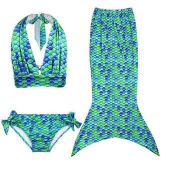 เด็กสาวน้อยน่ารักที่ 2559 Swimmable หางนางเงือกนางเงือกกำลังว่ายน้ำบิกินี่ชุดว่ายน้ำชุดว่ายน้ำเด็กชุดว่ายน้ำเด็กใส่ชุดว่ายน้ำทะเลสีเขียว