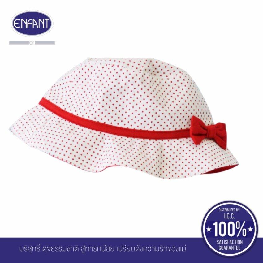 ENFANT หมวกเด็กพื้นสีขาวลายจุดสีแดง รอบศรีษะ 42-48 ซม.