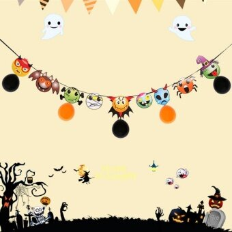 EOZY Halloween Hanging Garland Banner Bunting Flag Garland Decor Party KTV Decorations with Balloons - intl