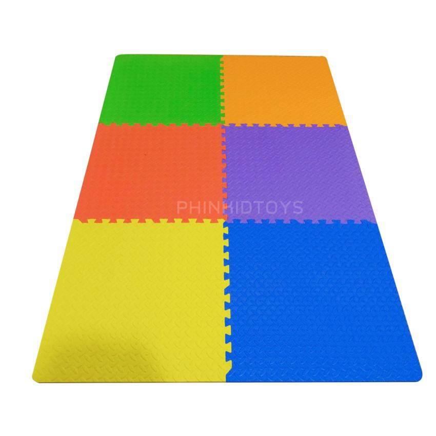 แผ่นรองคลานโฟม EVA Foam ขนาด 60x60 cm. ต่อแผ่นจำนวน 6 แผ่นต่อชุด คละสี 6 สี