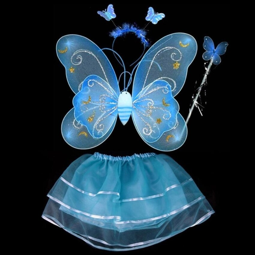 Fairy Princess Butterfly Wing Headband Dress Birthday Party Dress Up Costume Set - intl