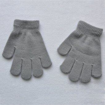 Fang Fang New Autumn Winter Children Girl Boy Warm Snow Stretchy\nKnitted Gloves Mittens(Gray)