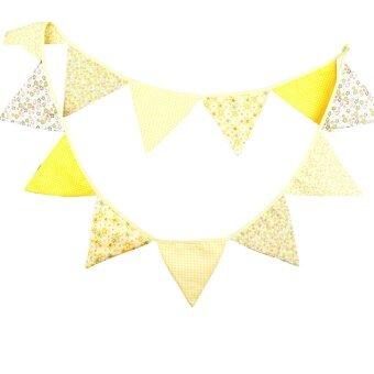Fashion Birthday Party Holiday Decoration Triangle String FlagYellow - intl