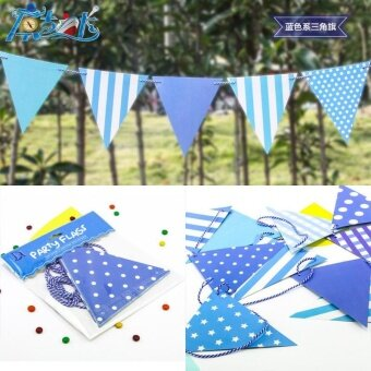 Fashion Party Dress Up Item Birthday Flag Banner Banner BannerDecoration Blue triangle flag - intl