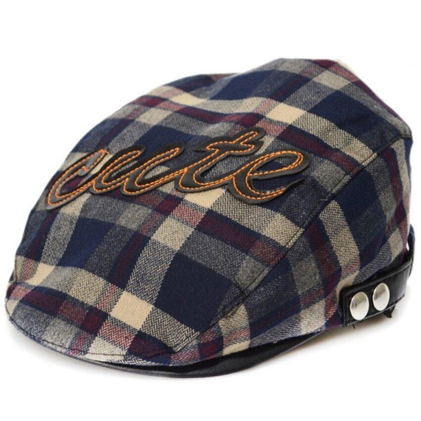Fashion Spring Autumn Baby Kids Toddler Plaid Beret Cap Hat Cap - intl
