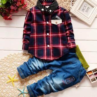 Fashion Spring Baby Boys Plaid Clothing Sets Long Sleeve - intl
