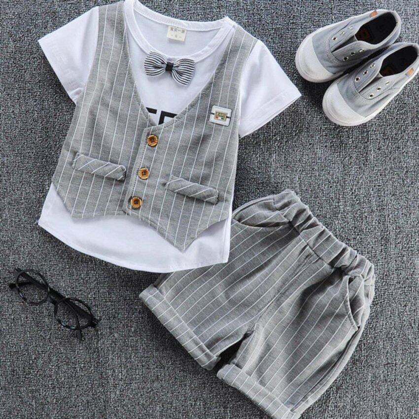 Fashion Summer Baby Boys Plaid Clothing Set - intl