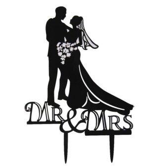 FC Wedding Cake Topper Acrylic Bride Groom Couple Silhouettecelebration Party - intl