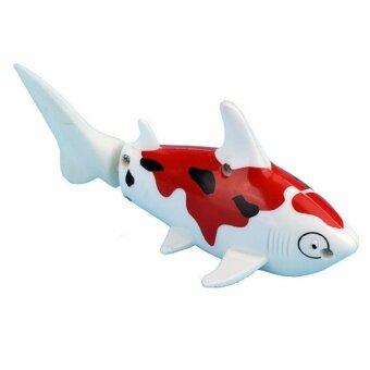 หุ่นยนต์ปลาบังคับวิทยุของเล่น ปลาคาร์พสีขาวจุดแดง Fish RadioControl Robot Fish