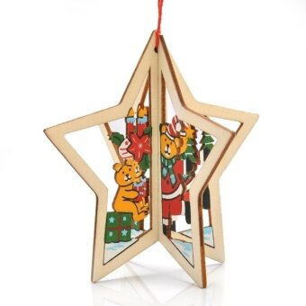 Five-pointed Star Carved Wood Xmas Tree Window Hanging PendantOrnament Gift - intl