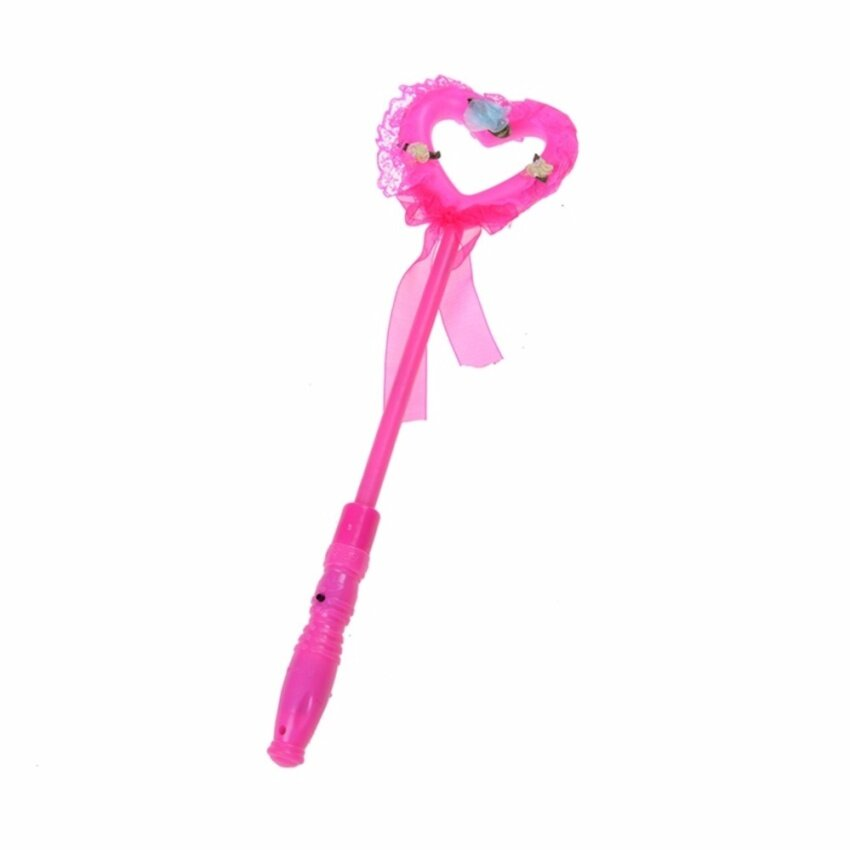 Flashing Beautiful Princess Wand Fairy Led Scepter Magic Heart Stick Toy - intl