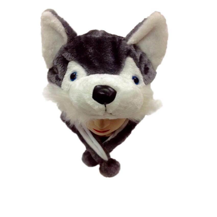 FN หมวกแฟนซีหัวสัตว์ รุ่น FOX-01 หัวหมาป่า (ขาว-เทา)