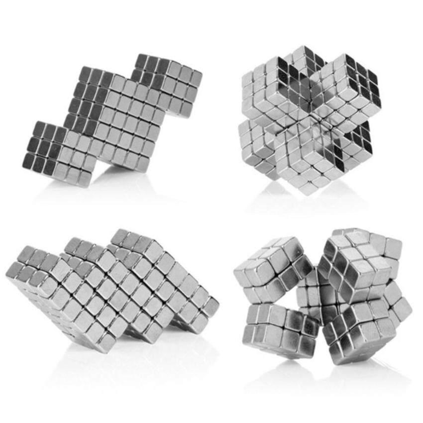 G2G แม่เหล็กแรงสูงทรงสี่เหลี่ยมลูกบาศก์ สำหรับเป็นของเล่นหรือเครื่องมือการเรียนการสอนรูปทรงเรขาคณิต ขนาด 3x3x3 มม. จำนวน 216 ชิ้น สีเงิน