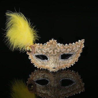 GAKTAI Venetian Feather Lace Flower Eye Mask Masquerade BallCostume Party Fancy Dress (Gold) - Intl