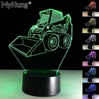 Gifts For Kids 3D Bulldozer LED Night Light 7 Color Touch TableDeskLamp USB Lamp Touch LED Illusion Nightlight Touch RemoteControl - intl